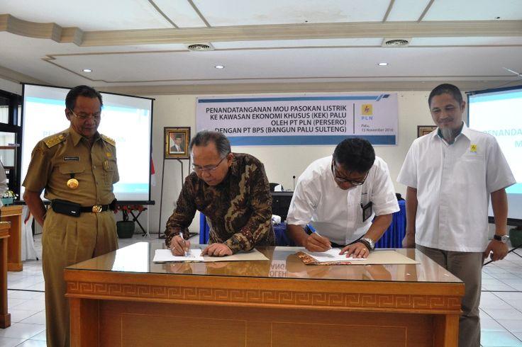 Penandatanganan MoU antara PT.PLN dan PT.BPS untuk Pasokan Listrik KEK. Foto : Humas Pemprov Sulawesi Tengah