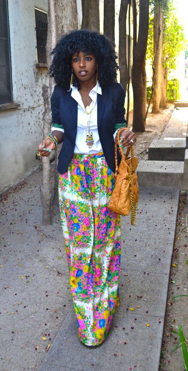 Navy Blazer + White Button Up Shirt + DIY Floral Maxi Skirt