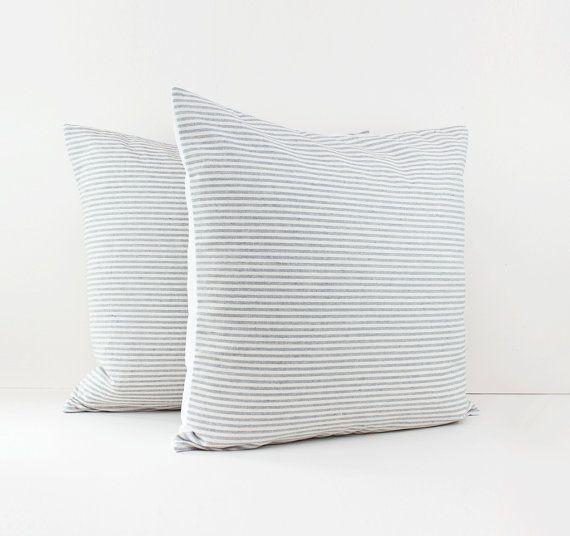 Set of 2 Gray and White Stripe Linen Pillow Covers - Grey Cushions - Gray minimalist - Linen pillow shams - Decorative pillows for bed -