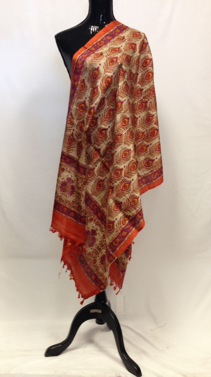 Pure Tussar Silk Printed Dupatta - Orange
