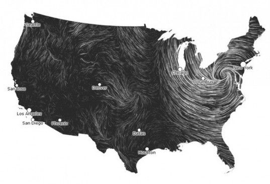 HINT.FM Wind Map during Hurricane Sandy