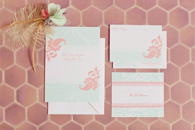 pink and mint bridal shower invitations / Bradley James Photography
