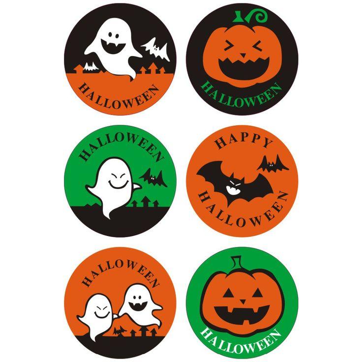 60 pçs/lote feliz dia das bruxas etiqueta do selo DIY biscoitos bolo decoração saco Rótulo da embalagem Do presente do dia das bruxas decoração