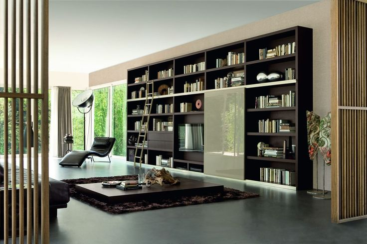 Modern Bookshelves modern book case design with dark wood in modern home with bamboo