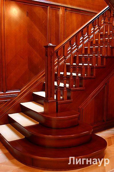 Деревянная лестница с приглашающими ступенями. - деревянные лестницы, интерьеры из дерева, отделка деревом | дизайн проекты, дизайны интерьера | столярные изделия | мебель из натурального дерева