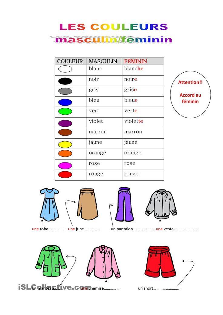 Adjectifs de couleurs   GRATUIT FLE fiches pédagogiques