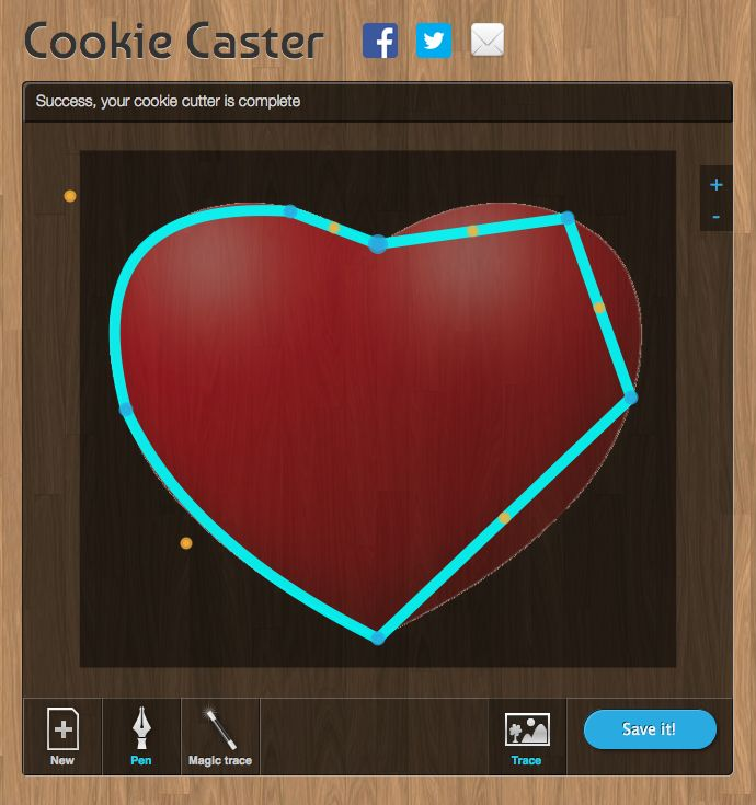 Create your own custom cookie cutter and download the 3-D printer file for free. http://www.cookiecaster.com/