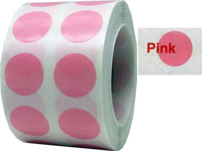 Pink See Through Translucent Color Coding Labels Adhesive Dot Stickers