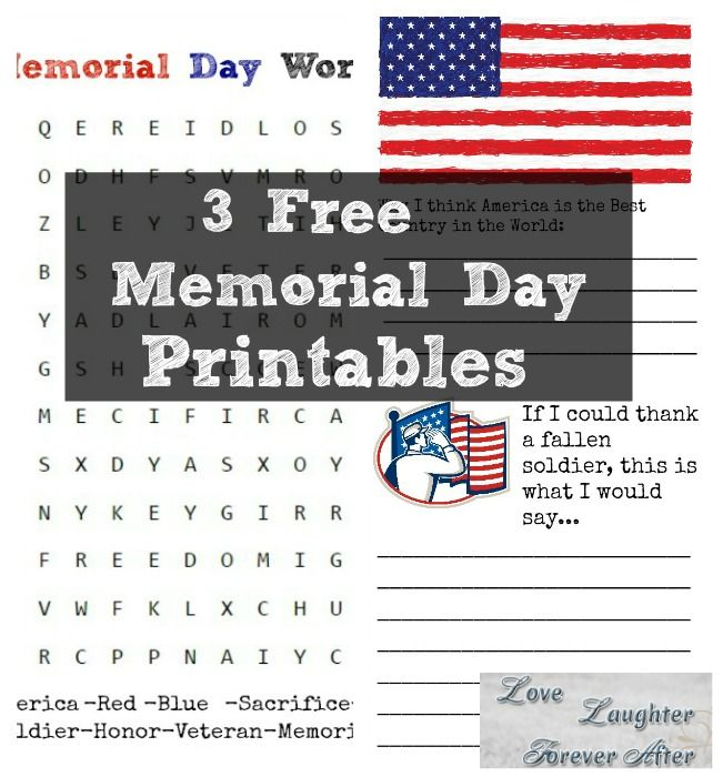 Blog post at Love, Laughter, Foreverafter : 3 Free Memorial Day Printables Summer is almost here! Being from a military familyMemorial Dayis an important summer holiday and I [..]