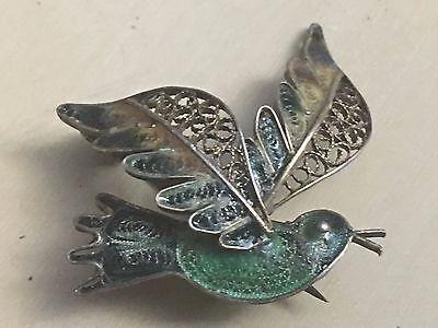 Early 800 silver Filigree Green/Blue Enamel Blue Bird Bluebird Brooch