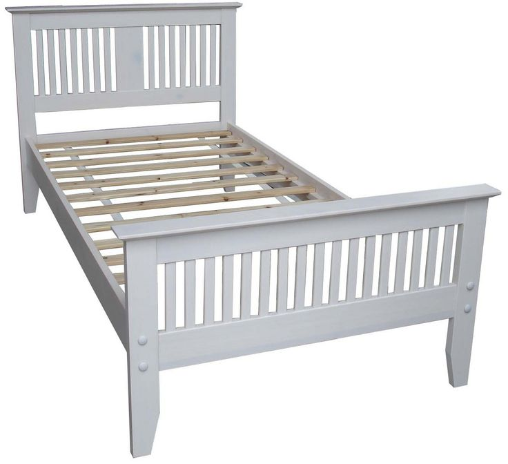 Carolina Childrens Wooden Single Bed Frame. The Carolina white painted wooden bed has a shaker style head-end and foot-end. It is made from sustainable rubberwood with a strong beech sprung slatted base. To Fit UK Mattress Size Single 190x90cm. The Sale is for the bed frame only - no bedding, pillows or mattress included. Self-assembly is required http://www.lakeland-furniture.co.uk/carolina-single-bed-white.html