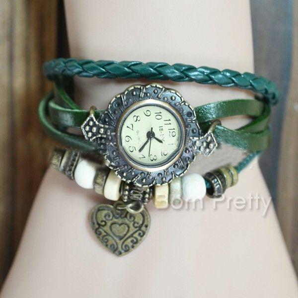 $7.27 Retro Leather Bracelet Watch Bracelet Watch Women Heart Pendant Watch - BornPrettyStore.com