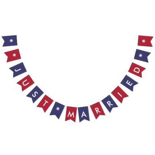 Just Married American Flag Colors Wedding Party