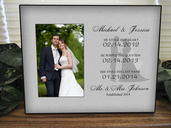 Personalized Wedding Gift Picture Frame with Name Dates Established, Important Dates, Shower Gift