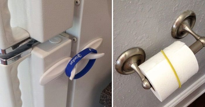 This would also work for those certifiably crazy cats that like to pull toilet paper off the roll. DIY child proofing hacks