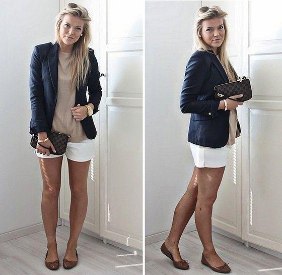 Louis Vuitton Pochette, Zara Blazer, H Shorts, Zara Flats, Hermës Bracelet, Michael Kors Watch