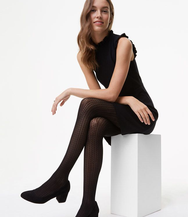 Loft Linear Pointelle Tights - Intricately cut with a linear pointelle pattern, these flattering tights are a femme take on the ultimate wardrobe staple. Elasticized waist. Shop at www.fashion-tights.net #tights #pantyhose #hosiery #nylons #legs