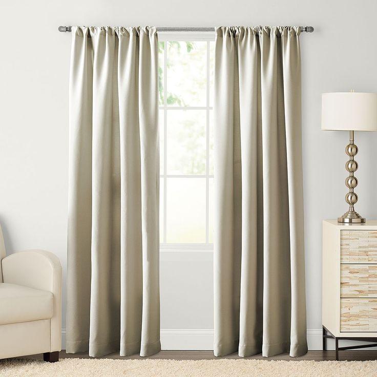 SONOMA Goods for Life™ Carson Twill Pole Top Curtain, Beig/Green (Beig/Khaki)