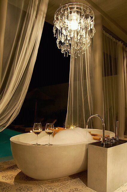 Luxury Powder Room- Chandelier- Via ~LadyLuxury~