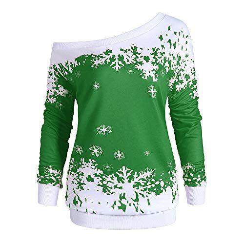 Briskorry Weihnachtspullover Damen Weihnachten Langarm