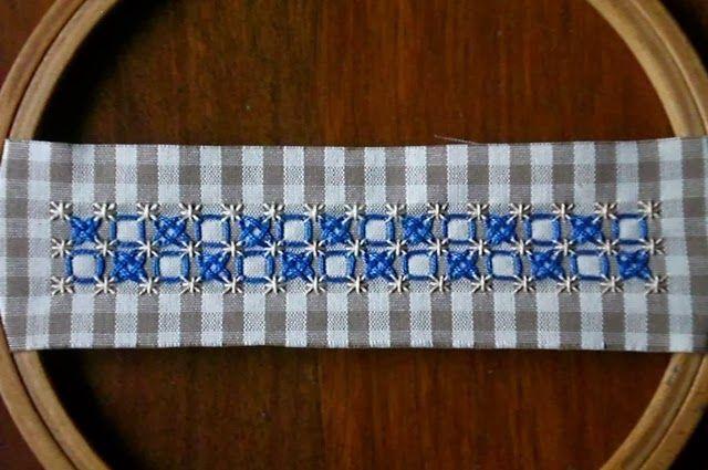 Tutorial Broderie Suisse: punto quadrato e doppia olivetta (o punto crociato)