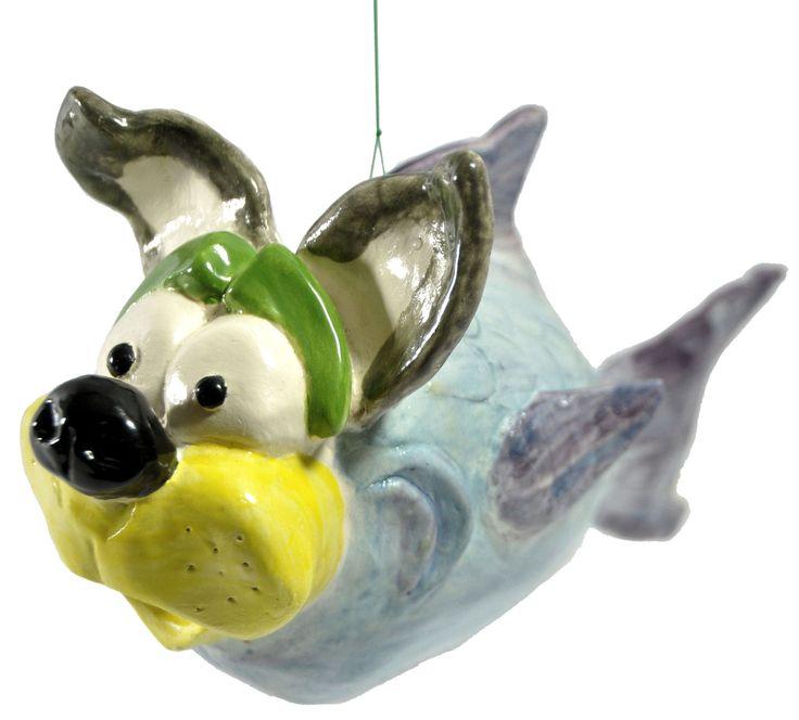 Alessandro pesce cane scultura in ceramica artistica da collezione italdesign fogliaro - arte ceramica italiana - surrealismo arte moderna di ITALDESIGNFOGLIARO su Etsy