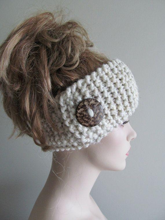 Wool Knit Headbands Button Grey Wheat Earwarmers by Lacywork, $24.99