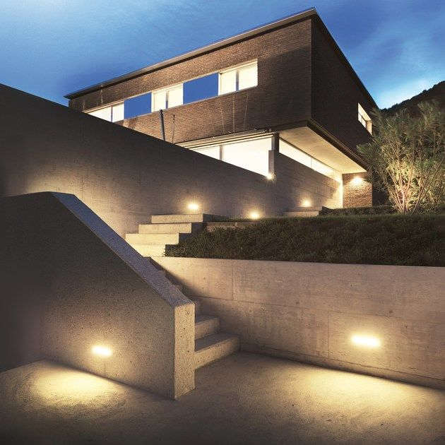 Led Wall Mounted Steplight Concrete Wall Mounted Steplight By Simes Outdoor Entryway Garden Wall Lights Concrete Stairs