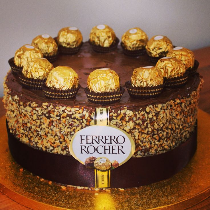 Ferrero Rocher Birthday Cake. Chocolate and Hazelnut cake spread with ...