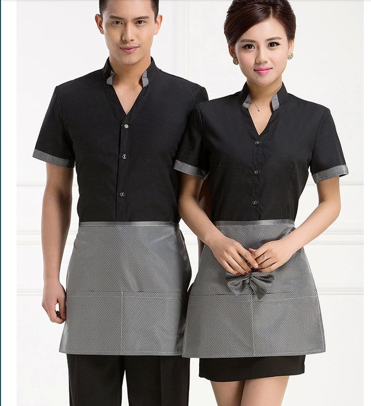 Hotel Uniform Summer Coffee Teahouse Hotel Restaurant Waiter Work Wear Short Sleeved Uniforms with Apron