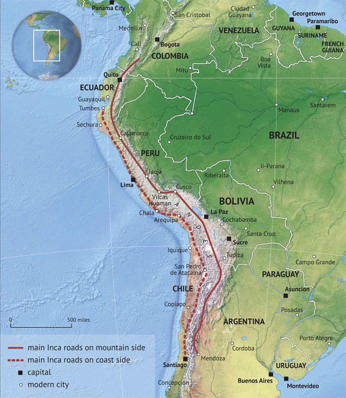 Example map for Wikipedia - Inca Road System