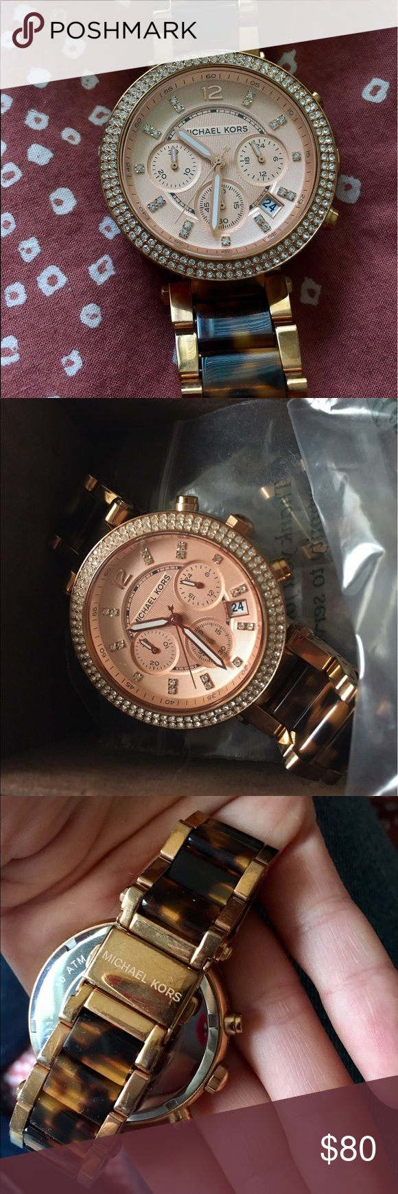 Michael Kors Rose Gold & Tortoise Shell Watch Beautiful Michael Kors watch with rose gold finish and crystals surrounding the face. This watched is practically new, and was worn less than 5 times. It comes in the original box with extra links. Great condition, no scratches Michael Kors Accessories Watches