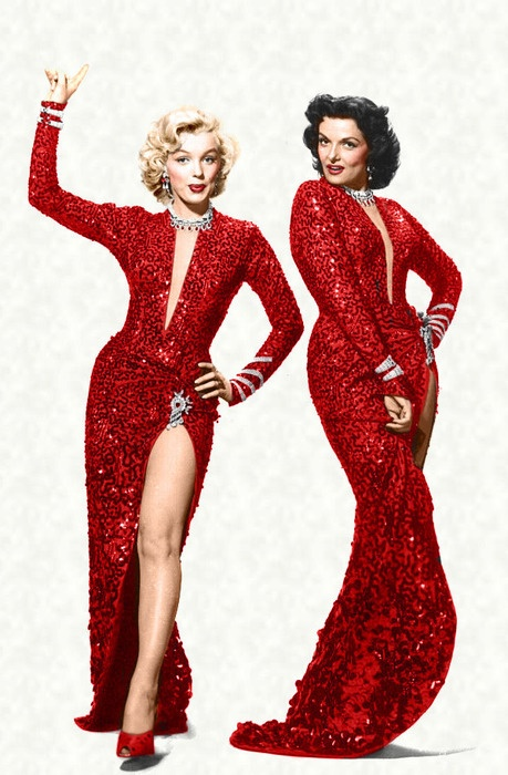 Marilyn Monroe and Jane Russell in a publicity photo for 'Gentlemen Prefer Blondes', 1953.