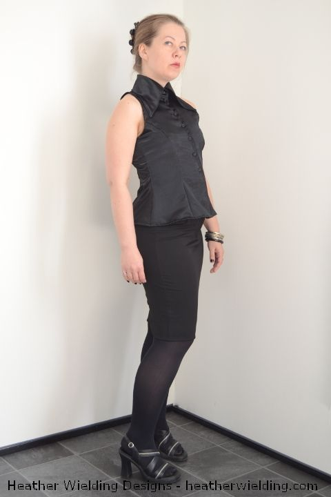 Princess-seamed sleeveless blouse with a large collar - Sewing Pattern by Heather Wielding Designs  http://heatherwielding.com/product/princess-seamed-sleeveless-blouse/