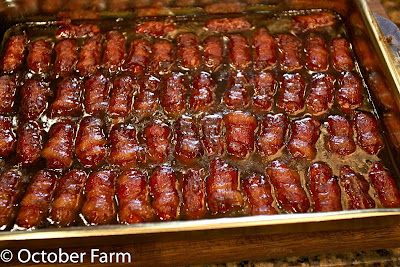Bacon Wrapped Little Smokies - had these during the last Super Bowl.  Dang they were good! Awesome finger food.