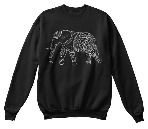 Elephant Yoga Sweatshirt Black Moletom Front