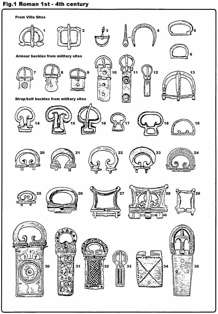 Examples of Roman buckle styles. It is likely that the buckle was introduced to England by the Roman army - netmarshall