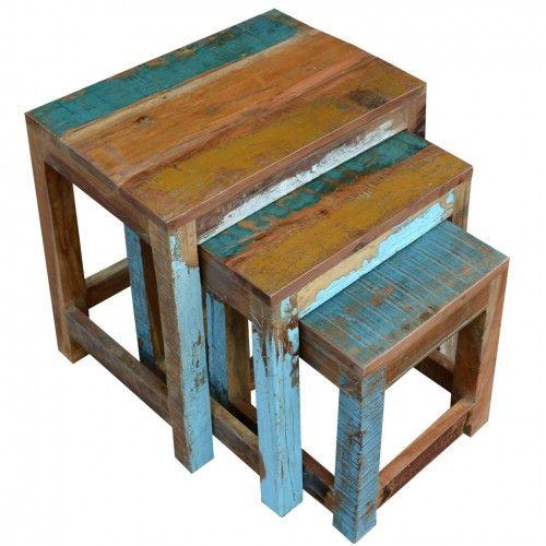 meble industrialne komplet trzech stolików Loft Colors recykling MF-207