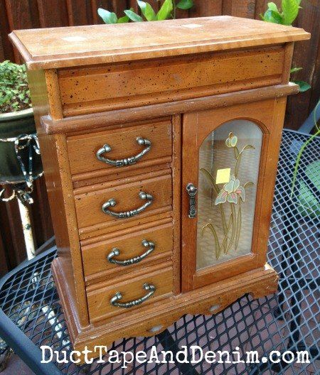 Americana Decor Chalky Finish Paint Updates an Old Jewelry Cabinet