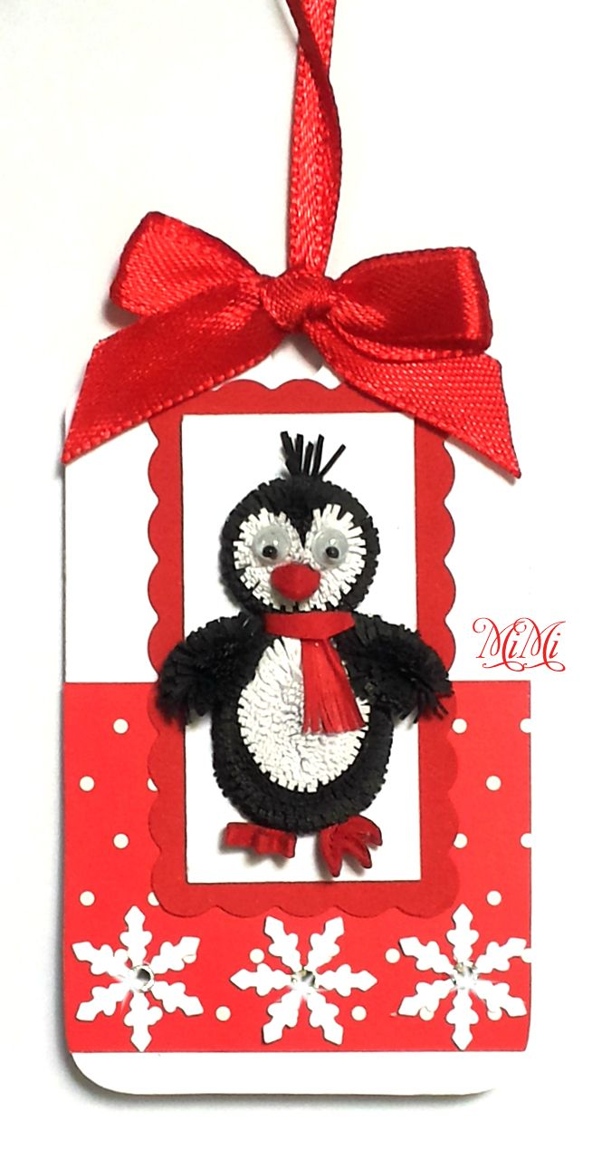 Quilling Christmas Gift Tag Animal - Penguin