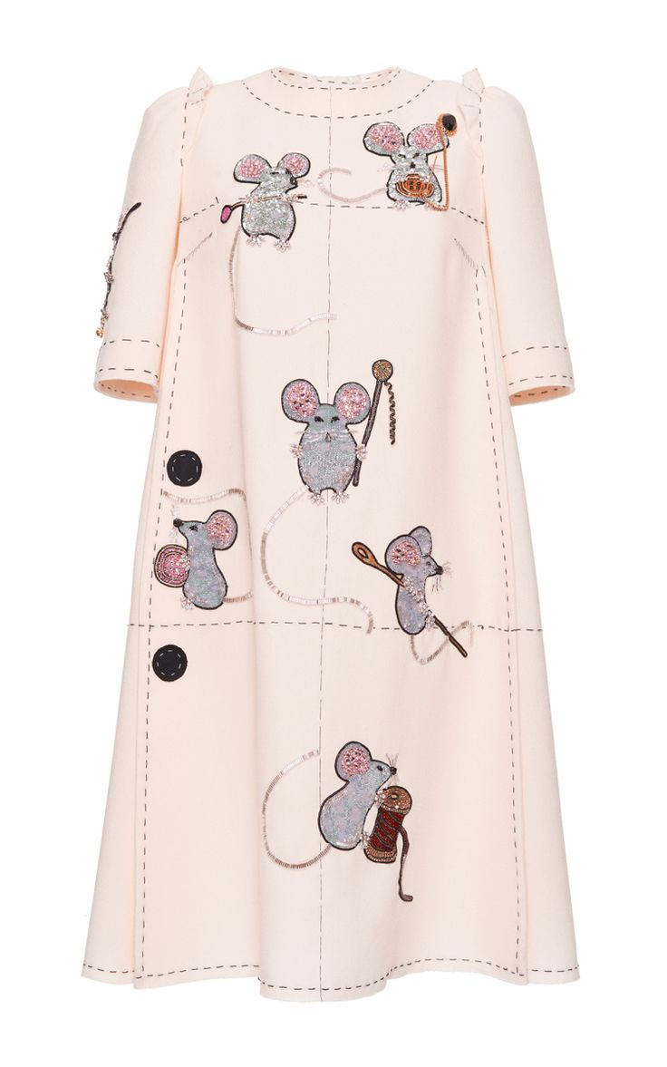 Crepe Shift Dress With Embellished Mouse Motif by DOLCE & GABBANA for Preorder on Moda Operandi