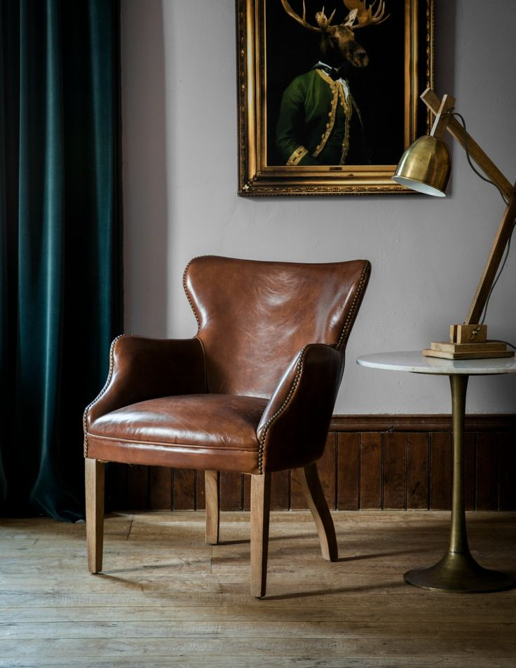 Havana Brown Leather Chair by Rose & Grey