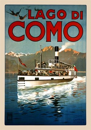 Lago Di Como 1905 Italy - Beautiful Vintage Poster Reproduction. This vertical Italian travel poster features a boat full of people moving a...