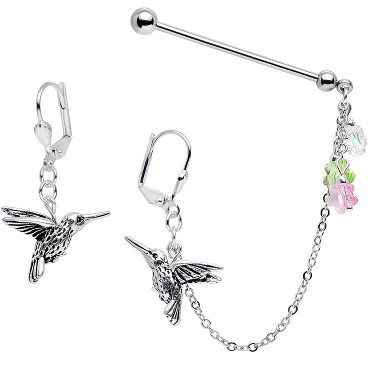 hummingbird industrial chain earrings created with swarovski crystals