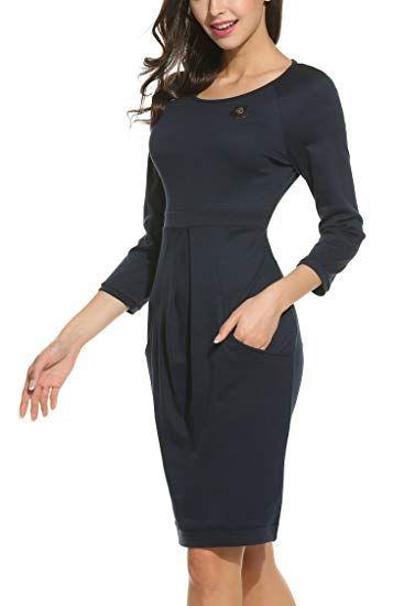 Parabler Damen Etuikleid Strickkleid Freizeitkleider Business Kleid 3 4 Arm Rundhals  Knielang Winter Herbst  446dd3041b