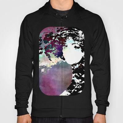 LADY-SILEX-3 Hoody by Pia Schneider [atelier COLOUR-VISION] - $42.00, #hoody #hoodies #pullover #clothes #men #women #zipper #cotton #fleece #unisex #fashion #society6 #piaschneider #ateliercolourvision #art #design #artproducts #femal #face #woman #portrait #surreal #mixedmedia #collage #textures #ladysilex #black #white #purple #darkred #magenta #rose #grey #colourful