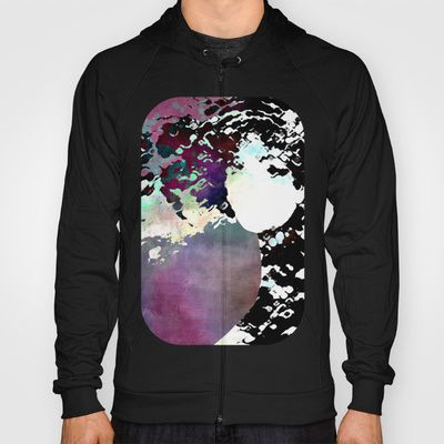 LADY-SILEX-3 Hoody by Pia Schneider [atelier COLOUR-VISION] - $42.00, #hoody #hoodies #pullover #clothes #men #women #zipper #cotton #fleece #unisex #fashion #society6 #piaschneider #ateliercolourvision #art #design #artproducts #femal #face #woman #portrait #surreal #mixedmedia #collage #textures #ladysilex #black #white #purple #darkred #magenta #rose #grey #colourful