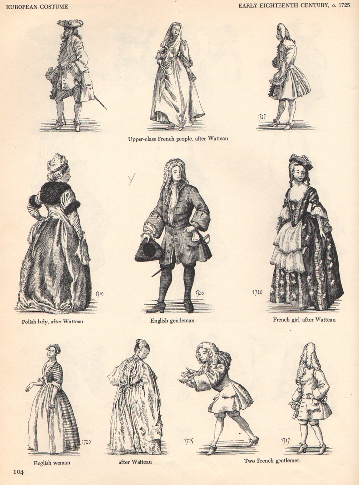 Early 1700's Men's & Women's Fashion. | 1680-1720 fashions ...