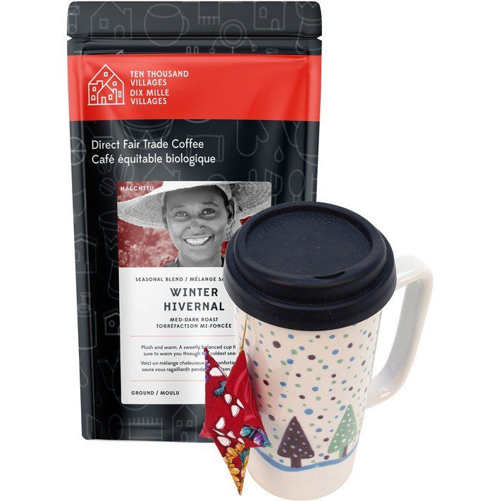 A cup of joe and you're good to go with this handcrafted travel mug and popular cold-weather brew, Winter Harvest coffee from Level Ground. A merging of dark and medium beans from Ethiopia, Congo and Tanzania creates a delicious tasting blend that's fragrant, playful and slightly bold.  Sip and savour while trimming the tree with this eco-friendly star handcrafted