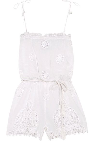 Miguelina - Peggy Cotton And Lace Playsuit - White -